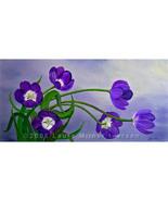 Purple Tulips Gray Flowers Spring Floral Origin... - $299.00