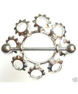 Pair of 2 Stainless Steel Crystal Sun Nipple Sh... - $7.99