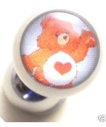 Tender heart care bear tongue ring barbell, 14g - $4.99