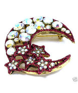 Red Crescent Moon Stars AB Crystal Gold EP Broo... - $12.99