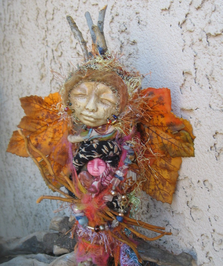 Alchemist Moon,  Gypsy Spirit Art Doll Assemblage art