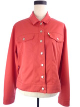 Womens L IZOD Coral Salmon Pink Snap Button Jacket - $24.64