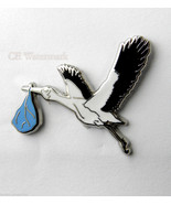 STORK BIRD CARRYING BLUE BOY BABY STORK BABY DE... - $4.42