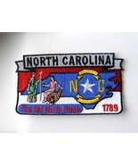 US NORTH CAROLINA STATE NAME MAP EMBROIDERED PA... - $4.65