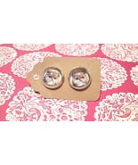 PERSIAN CAT kitty cute pair glass dome earrings... - $4.45