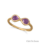 Gold Ring with Amethyst Infinity Design - $69.99