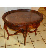 Walnut Flower Carved Coffee Table with Serving ... - $499.00