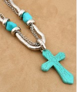 Chunky Western Cowgirl Turquoise Cross Statement Necklace Earrings Set - $9.99