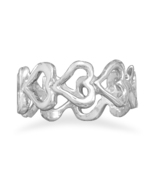 Sterling Silver Cut Out Hearts Band Ring - $38.95