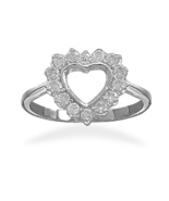 Cut Out CZ Heart Ring - $44.98