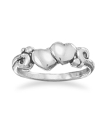 Ring with Two Hearts and Swirl Design - $29.99