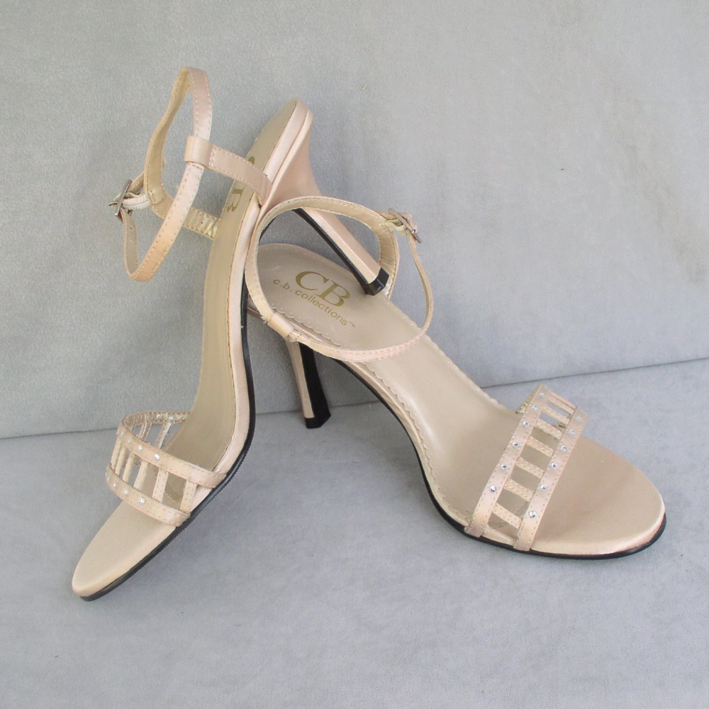 Sandals Ecru High Heel by C.B. Collections Size 7.5M