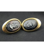 Sarah Coventry Clip On Earrings Gold Black Came... - $20.00