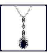 10k White Gold Sapphire Pendant w/diamond 10k 1... - $69.99