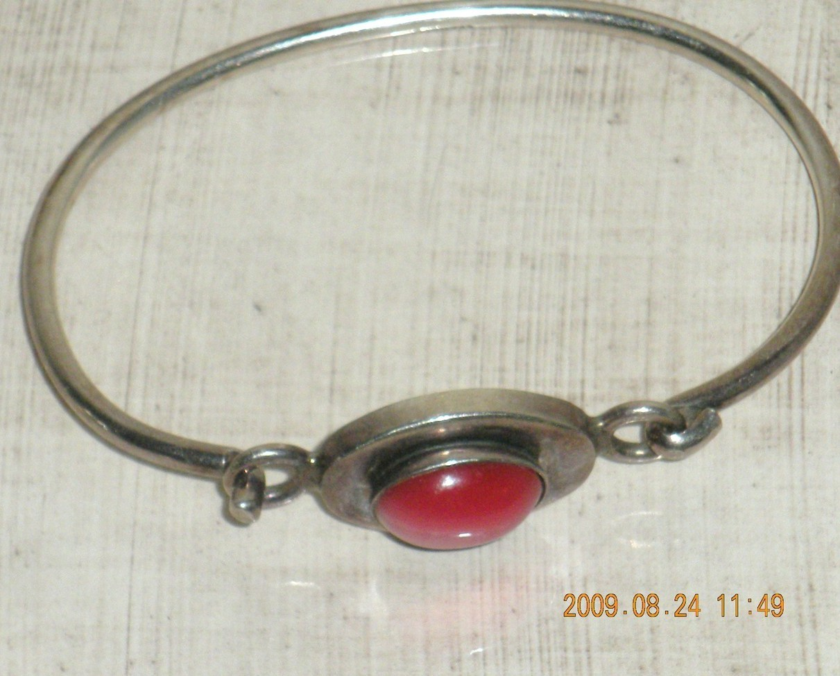 Ladies Silver Bracelet with Pink Carnelian Stone Mexico 925