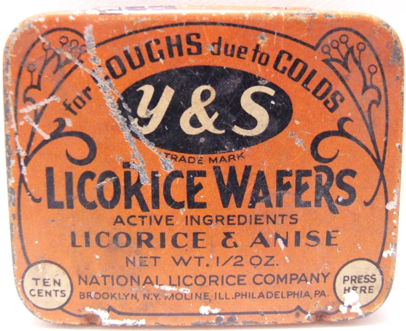 Vintage Y&S Licorice And Anise Wafers Tin Advertising Container
