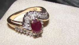Ladies 14K Yellow Gold Ruby and diamonds 14K gold Right Hand Cocktail ring