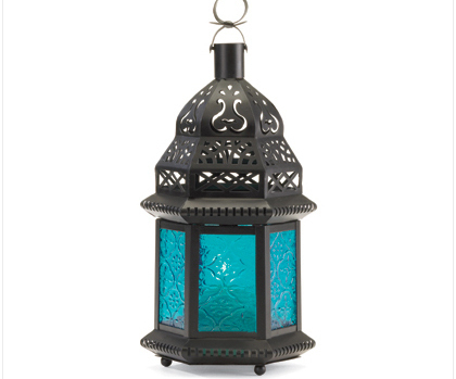 Image 1 of Blue Glass Moroccan-Style Lantern