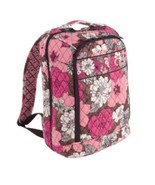 New Vera Bradley Large Laptop Backpack Mocha Rouge - $98.99