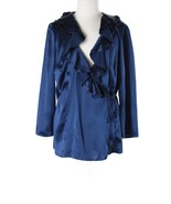Women Ann Taylor Deep Blue Silk Surplice Wrap R... - $29.69