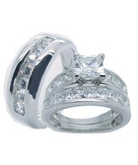 His Hers Solid 925 Sterling Silver Cz Wedding R... - $69.99
