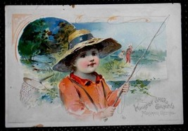 1891 antique LION COFFEE TRADE CARD summer fish... - $34.95