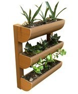 3Row Wall Planter Outdoor Garden Wood Plant Veg... - €98,78 EUR