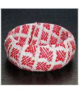 Red Square Floral Print on White Fabric Wrapped... - $9.98