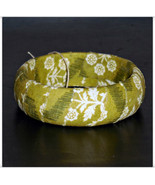 67mm Olive Green snd Cream Floral Fabric Wood D... - $9.98