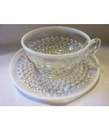 Vintage Moonstone Opalescent Hobnail Cup & Sauc... - $10.00