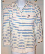 NWT $148 JUICY COUTURE BLUE STRIPE HOODIE WHITE... - $134.99