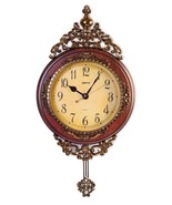 Brown & Bronze Grandfather Wall  Clock W/ Swing... - $112.00