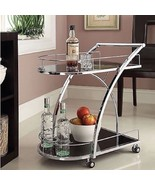 Chrome Metal w Black Tempered Glass Bar, Wine, ... - $99.00
