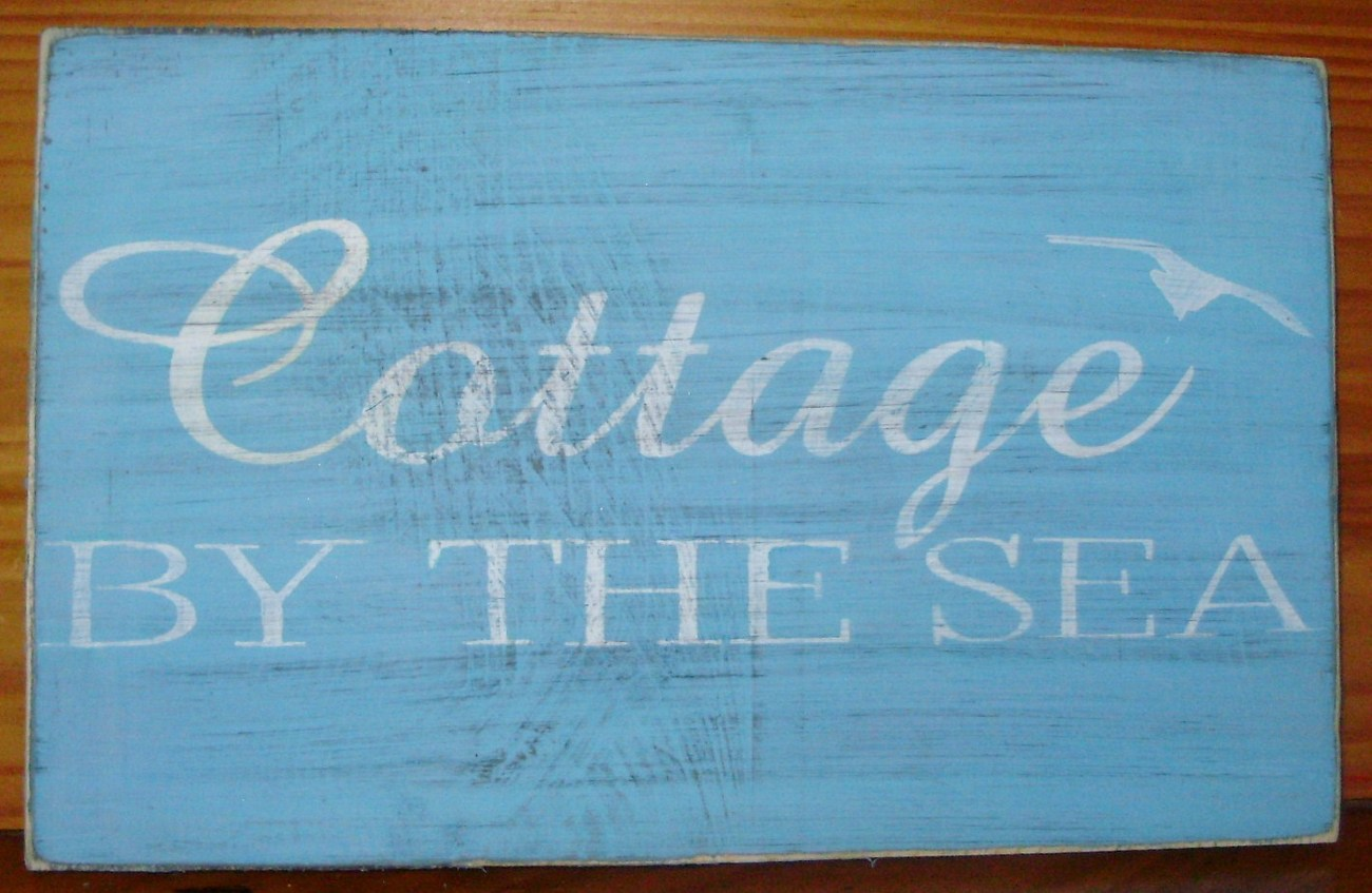 Cottage by the Sea Beach Sign Shabby Beachhouse Sea Ocean Decor Kitchen Boat Art
