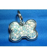 CRYSTAL BONE or HEART PET ID TAG -  Custom Colo... - $34.95