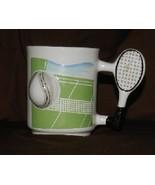 "Two Tennis Racquet and Ball 3 ½"" tall Coffee Mu... - $15.99"