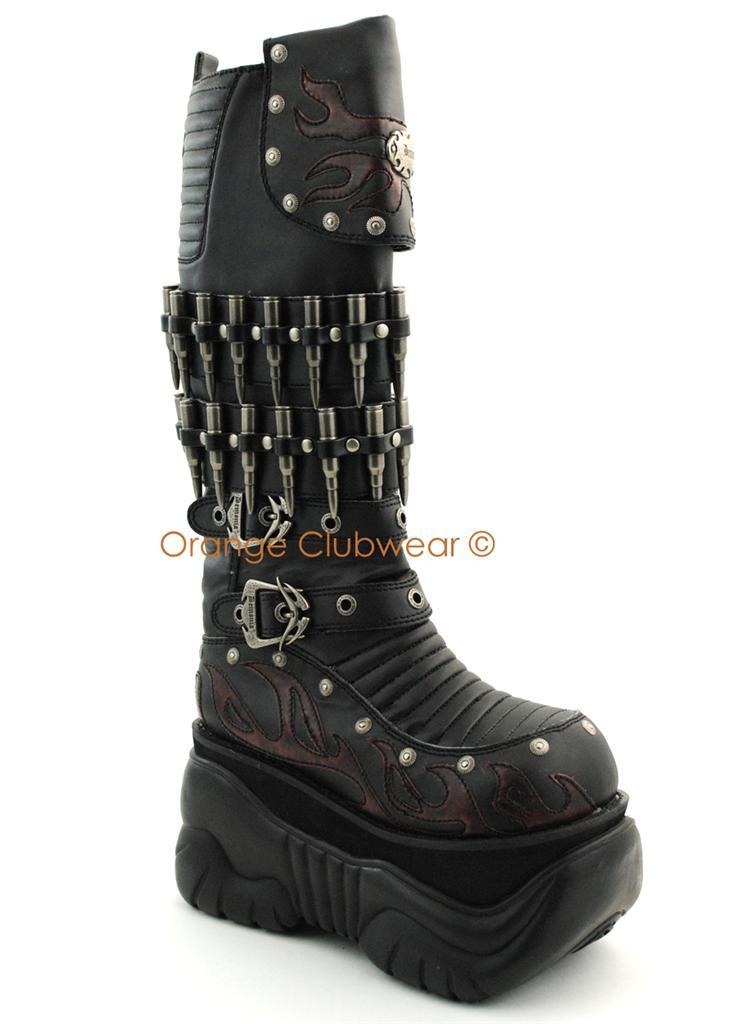 DEMONIA Mens Cyber Gothic Punk Platform Knee High Boots with Bullets