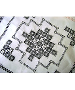 Victorian Italian White Linen Tablecloth Drawn ... - $34.00