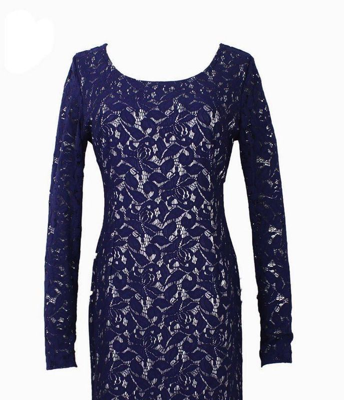 Royalty-Inspired Dark Navy Blue Full Lace Dress-Long Sleeve, LARGE