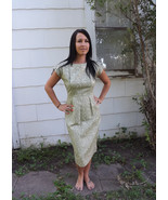 60s Cocktail Party Dress Light Green Brocade Vi... - $68.00