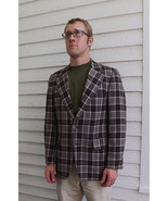 Plaid Mens Blazer Vintage 70s Jacket Sports Coa... - $39.99
