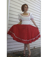 Vintage Red White Print Country Dress Square Da... - $39.99