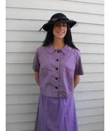 Vintage 50s Top Skirt Purple Print Cotton XL - $45.00