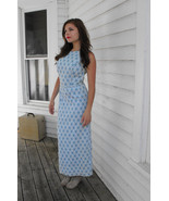 Formal Gown Sleeveless Blue White Vintage 60s P... - $69.99