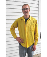 Yellow Mens Shirt Vintage 60s Casual XL Long Sl... - $9.99