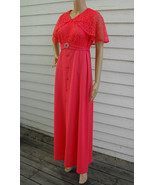 70s Dress Lace Cape Hippie Retro Vintage Maxi 1... - $39.99