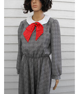 Plaid Dress Black White Print Polka Dot Red Bow... - $39.99