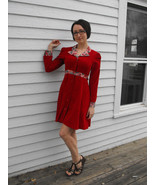 70s Red Corduroy Dress Boho Casual Vintage Flor... - $39.99