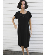 Vintage 50s Black Dress Beaded 1950s M L - $39.99