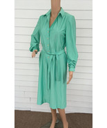 70s Dress Long Green Seafoam Casual Qiana Nylon... - $39.99